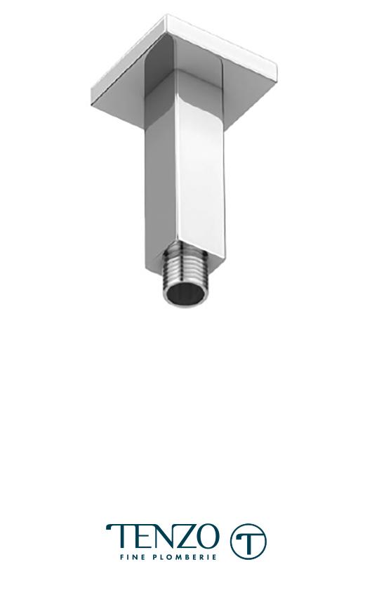 SA-702 - Bras de douche plafond carré 10cm [4po] laiton chrome