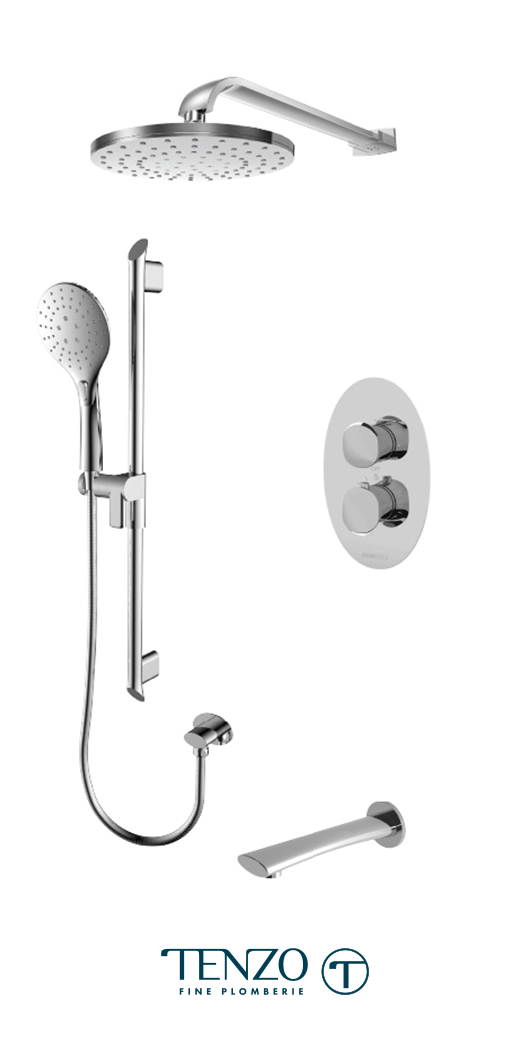 FLT33-501145-CR - Ensemble de douche T-Box, 3 fonctions, Fluvia