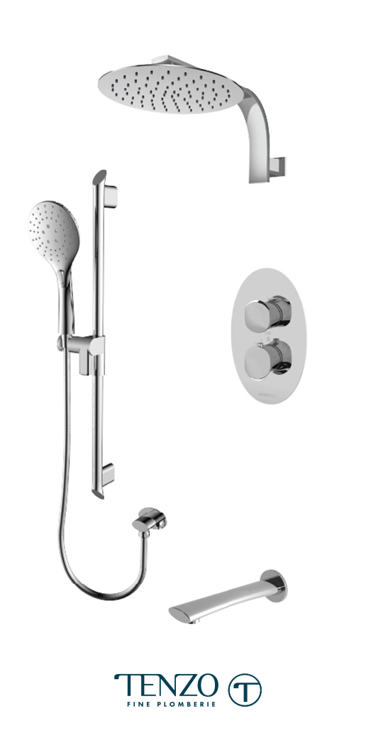 FLT33-501195-CR - Ensemble de douche T-Box, 3 fonctions, Fluvia