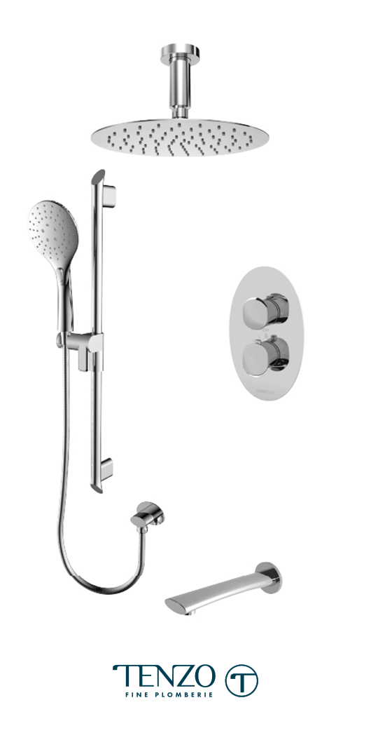 FLT33-511315-CR - Ensemble de douche T-Box, 3 fonctions, Fluvia