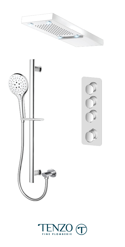 FLT43-54252-CR - Ensemble de douche T-Box, 3 fonctions, Fluvia