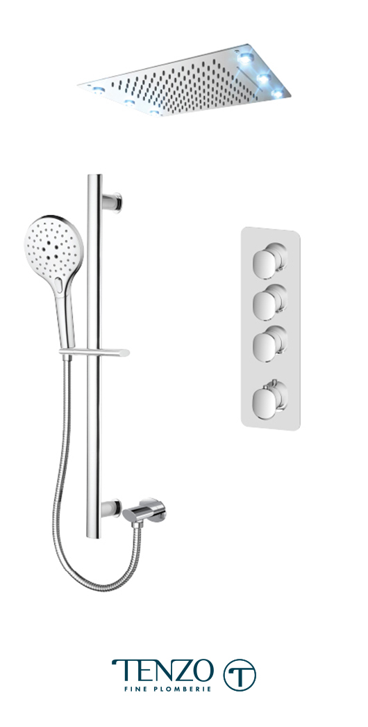 FLT43-55244-CR - Ensemble de douche T-Box, 3 fonctions, Fluvia