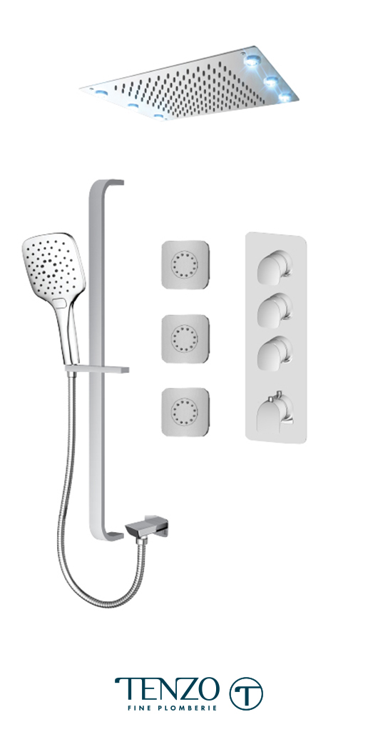 NUT43-592438-CR - Shower kit, 3 functions