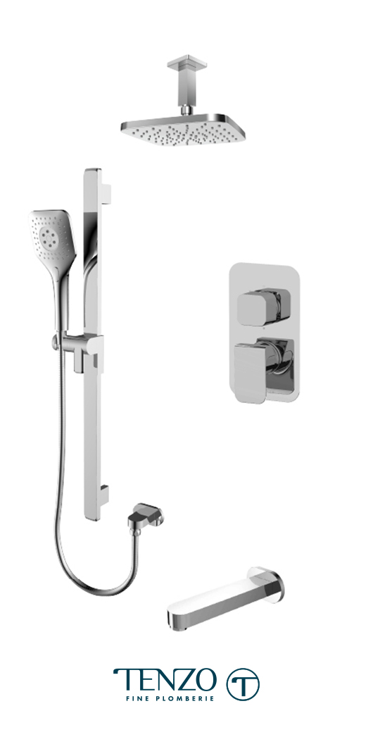 QUPB33-511345-CR - Ensemble de douche T-Box, 3 fonctions, Quantum
