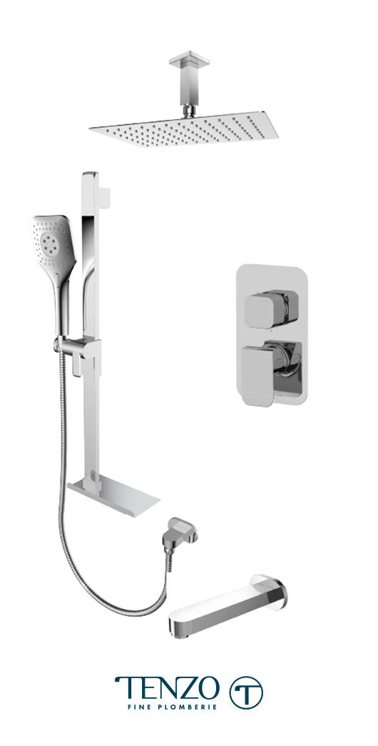 QUPB33-513315-CR - Ensemble de douche T-Box, 3 fonctions, Quantum