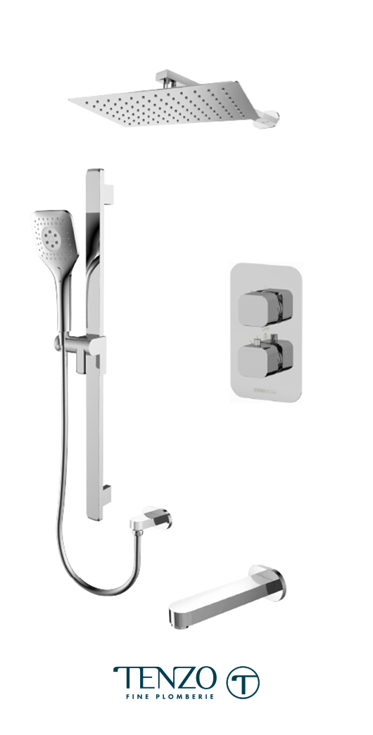 QUT33-501115-CR - Ensemble de douche T-Box, 3 fonctions, Quantum