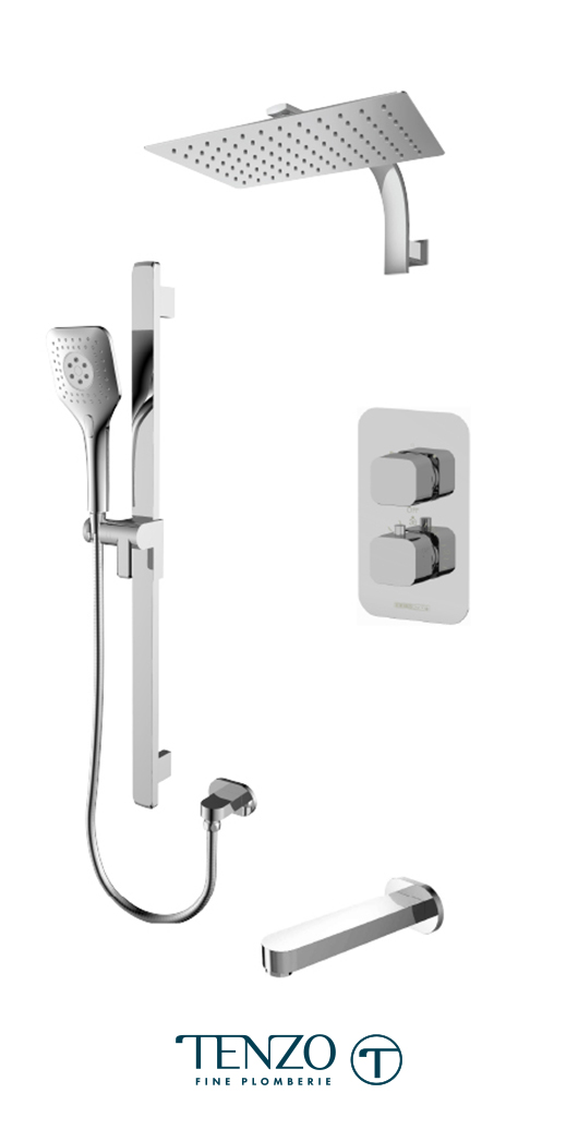 QUT33-501195-CR - Ensemble de douche T-Box, 3 fonctions, Quantum