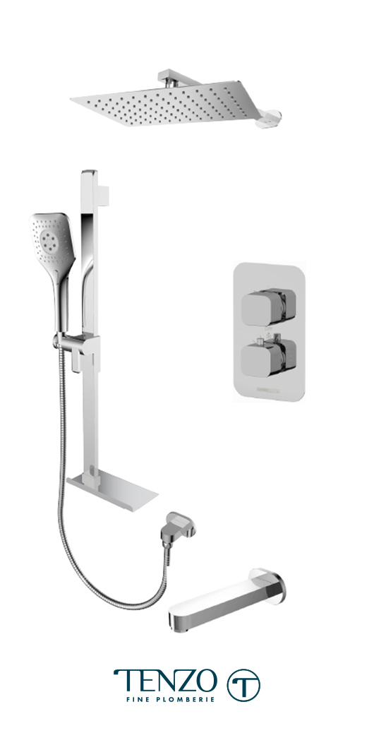 QUT33-503115-CR - Ensemble de douche T-Box, 3 fonctions, Quantum