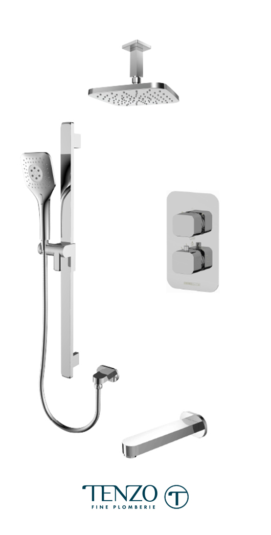 QUT33-511345-CR - Shower kit, 3 functions