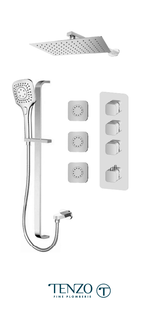 QUT43-572158-CR - Shower kit, 3 functions