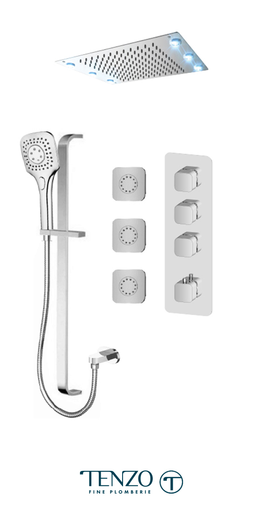 QUT43-592438-CR - Shower kit, 3 functions