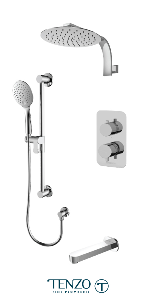 RUPB33-501195-CR - Ensemble de douche T-Box, 3 fonctions, Rundo