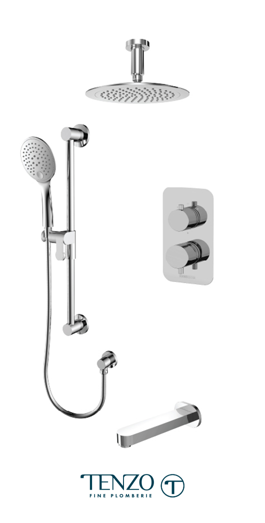 RUPB33-511345-CR - Ensemble de douche T-Box, 3 fonctions, Rundo
