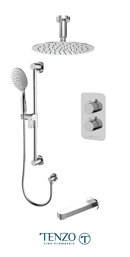 RUT33-511315-CR - Ensemble de douche T-Box, 3 fonctions, Rundo