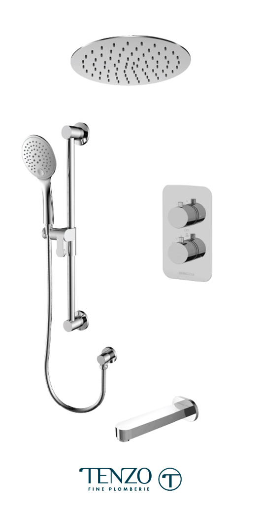 RUT33-511635-CR - Ensemble de douche T-Box, 3 fonctions, Rundo
