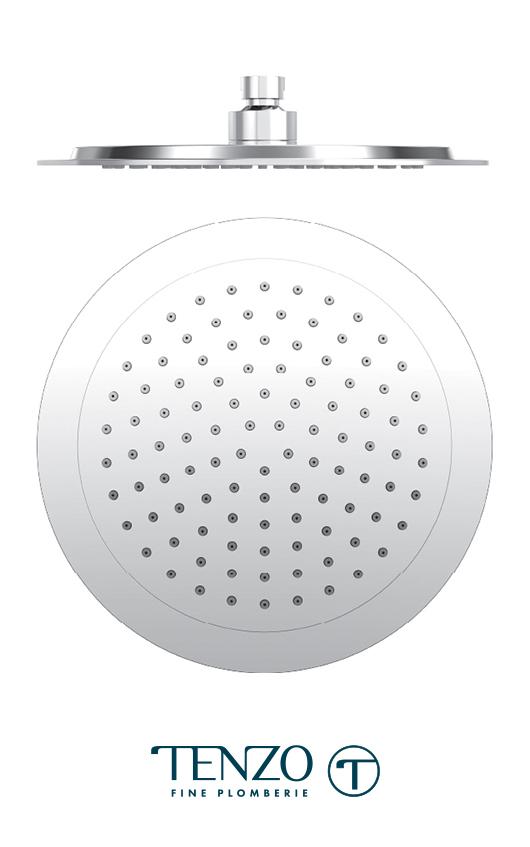 PVTS-09-R - Tête de douche ronde 23cm [9po] PVC chrome