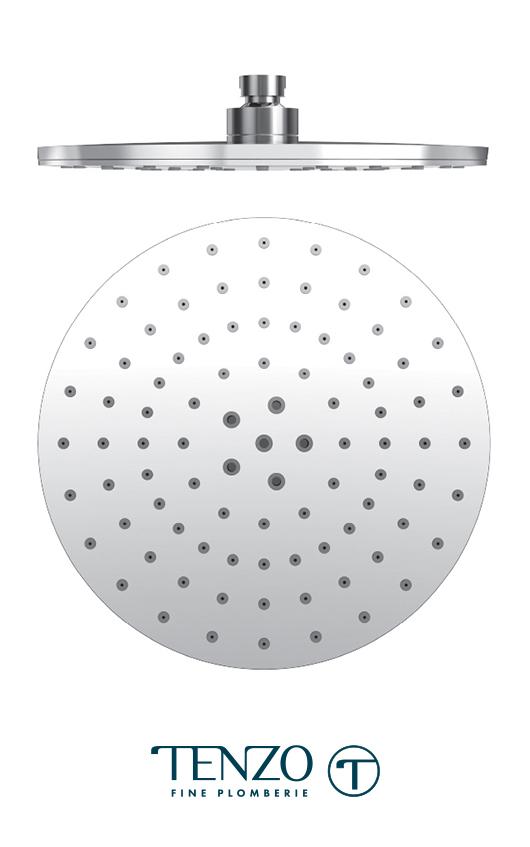 PVTS-09-R2 - Tête de douche ronde 23cm [9po] PVC chrome