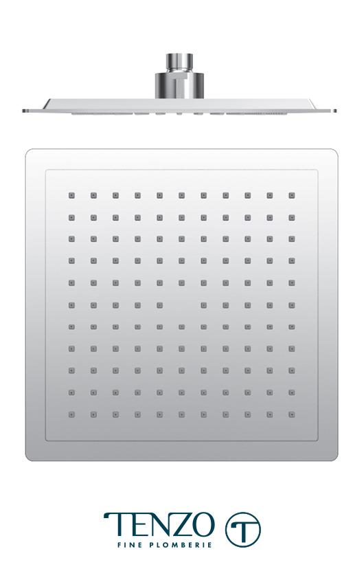PVTS-09-S - Tête de douche carrée 23x23cm [9po] PVC chrome