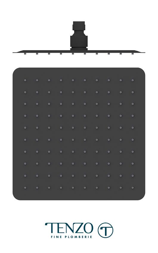 SSTS-10-Q-MB - AirBoost shwr head square 25x25cm [10in] matte black