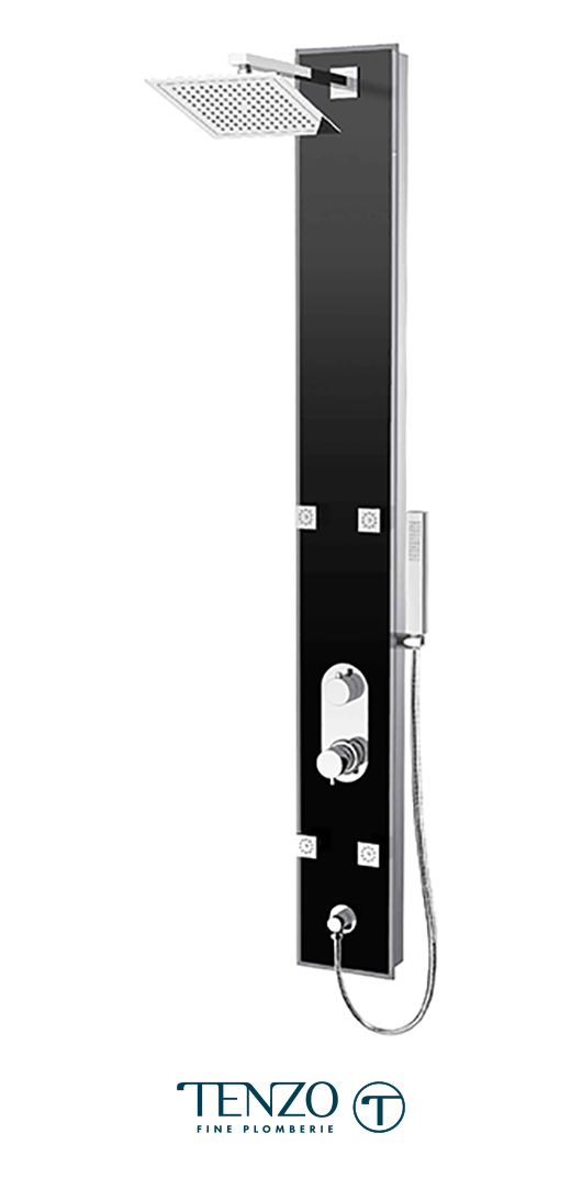 ETZG-53-BK - Shower columns - Evolo Tempered Glass, 3 functions