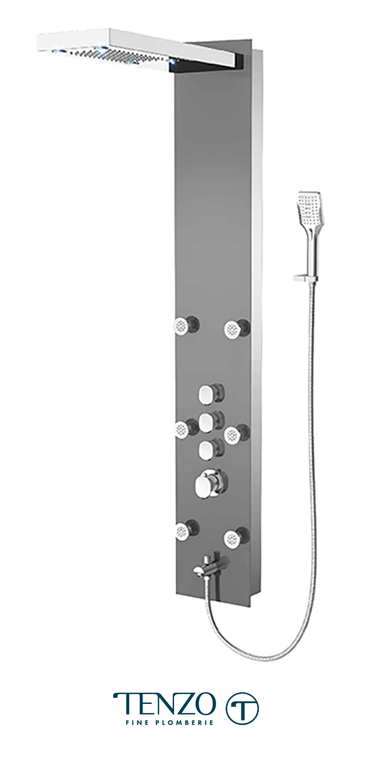 TZG1-XX-FL-3L - Shower columns - Tempered Glass, 3 functions