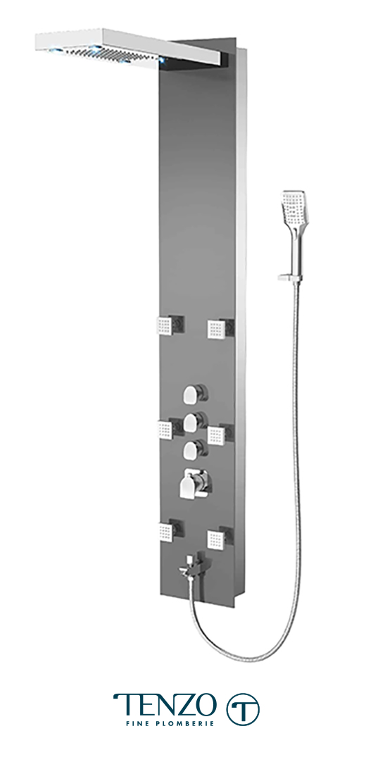 TZG1-XX-NU-3L - Shower columns - Tempered Glass, 3 functions