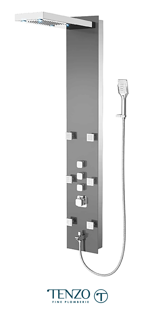 TZG1-XX-QU-3L - Shower columns - Tempered Glass, 3 functions