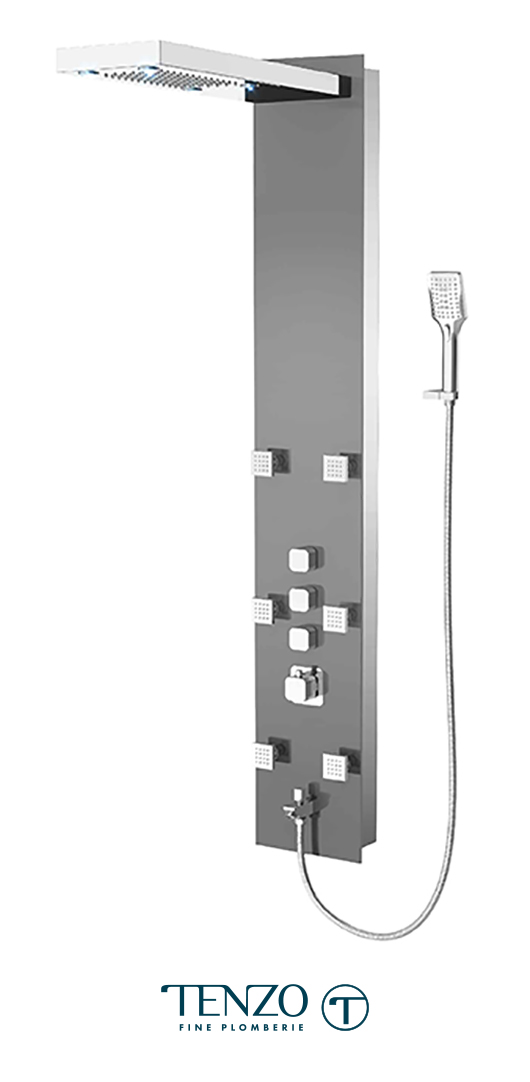 TZG1-XX-SL-3L - Shower columns - Tempered Glass, 3 functions