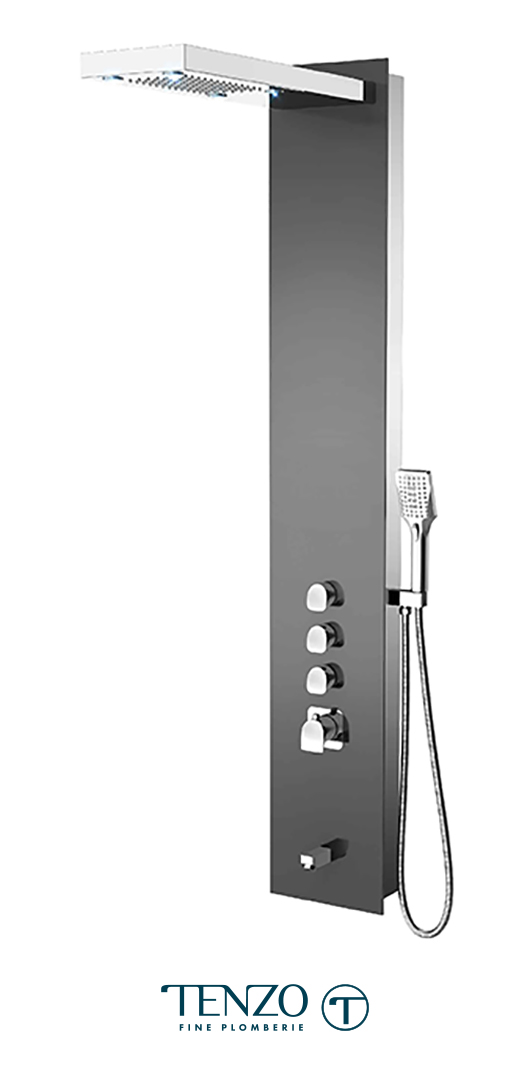 TZG11-XX-NU-3L - Shower columns - Tempered Glass, 3 functions