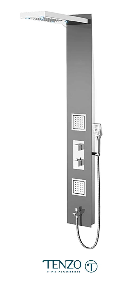 TZG3-XX-QU-3L - Shower columns - Tempered Glass, 3 functions
